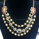 Gold Ruby Emerald Step Necklace