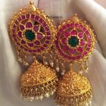 Gold Plated Antique Ruby Jhumka From Tvmeva