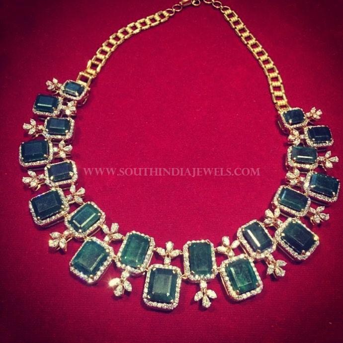 Beautiful Diamond Emerald Necklace From Manjula Jewels
