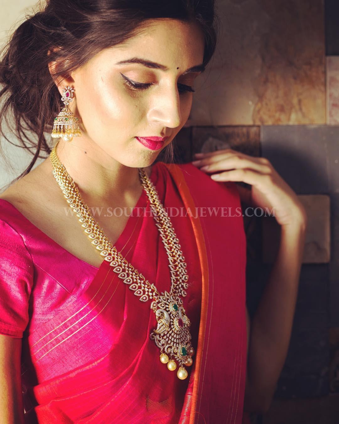 Diamond Haram & Jhumka From Manjula Jewels