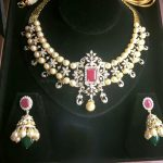 Diamond Pearl Necklace With Jhumka