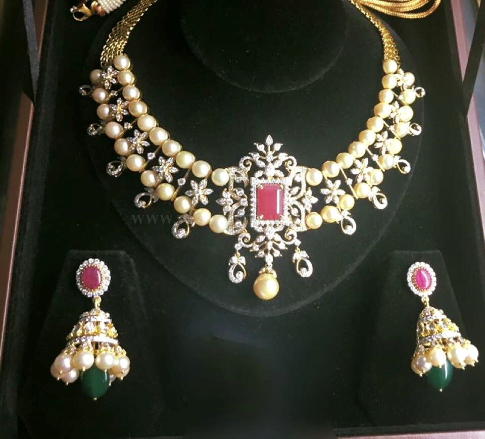 Diamond Pearl Necklace Set With Jhumka