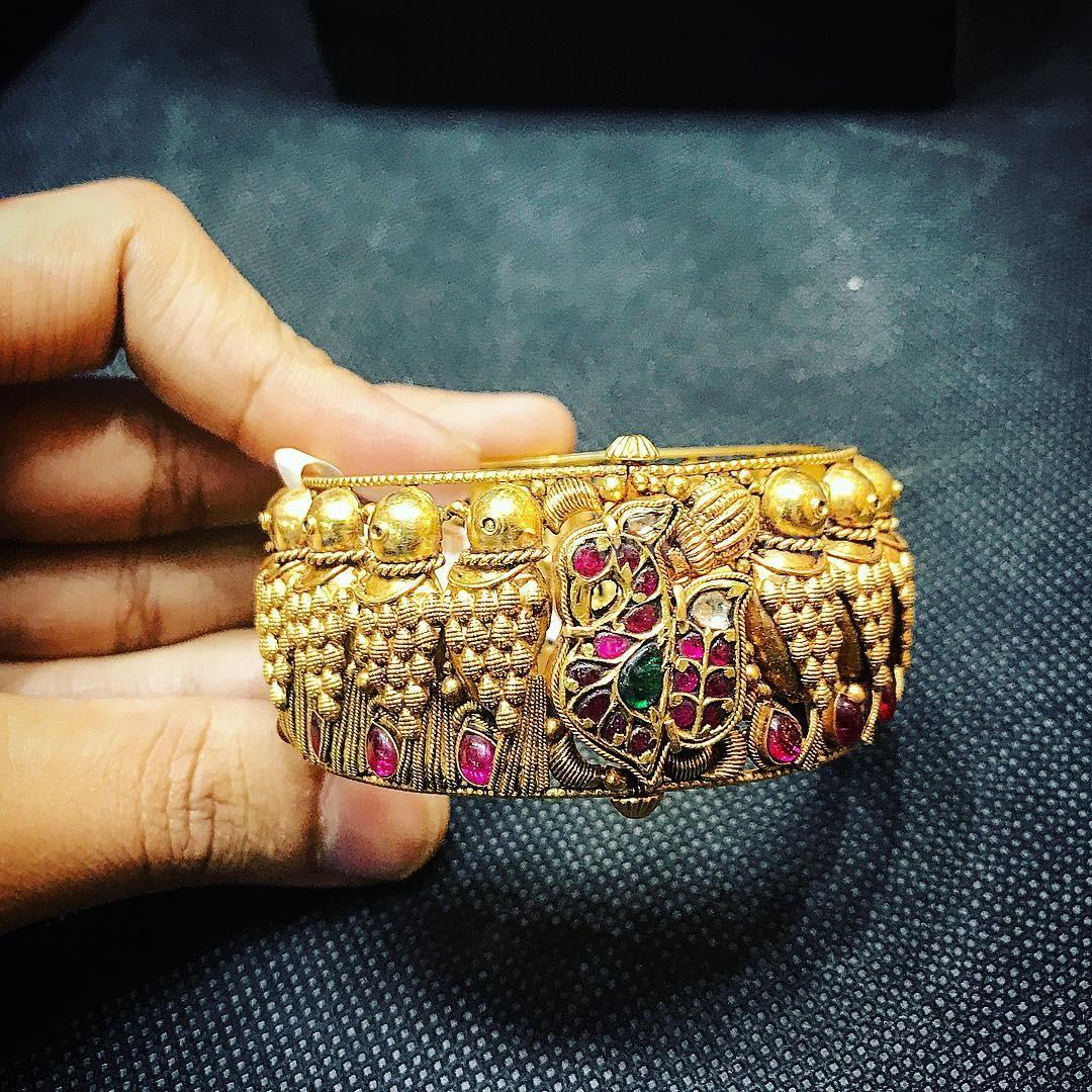 Gold Antique Kada From P.Satyanarayan & Sons