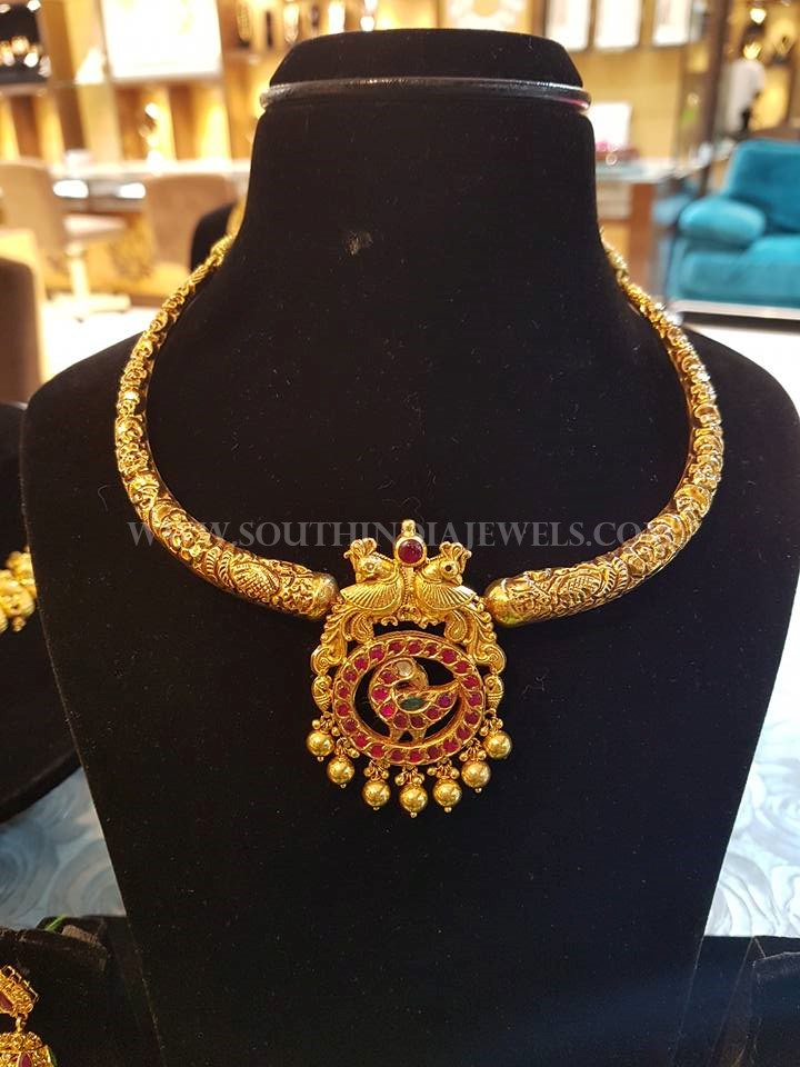 Gold Antique Necklace From Bhavani Jewellers