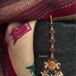 Gold Plated Ruby Emerald Maang Tikka