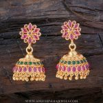Gold Plated Traditional Ruby Emerald Jhumka