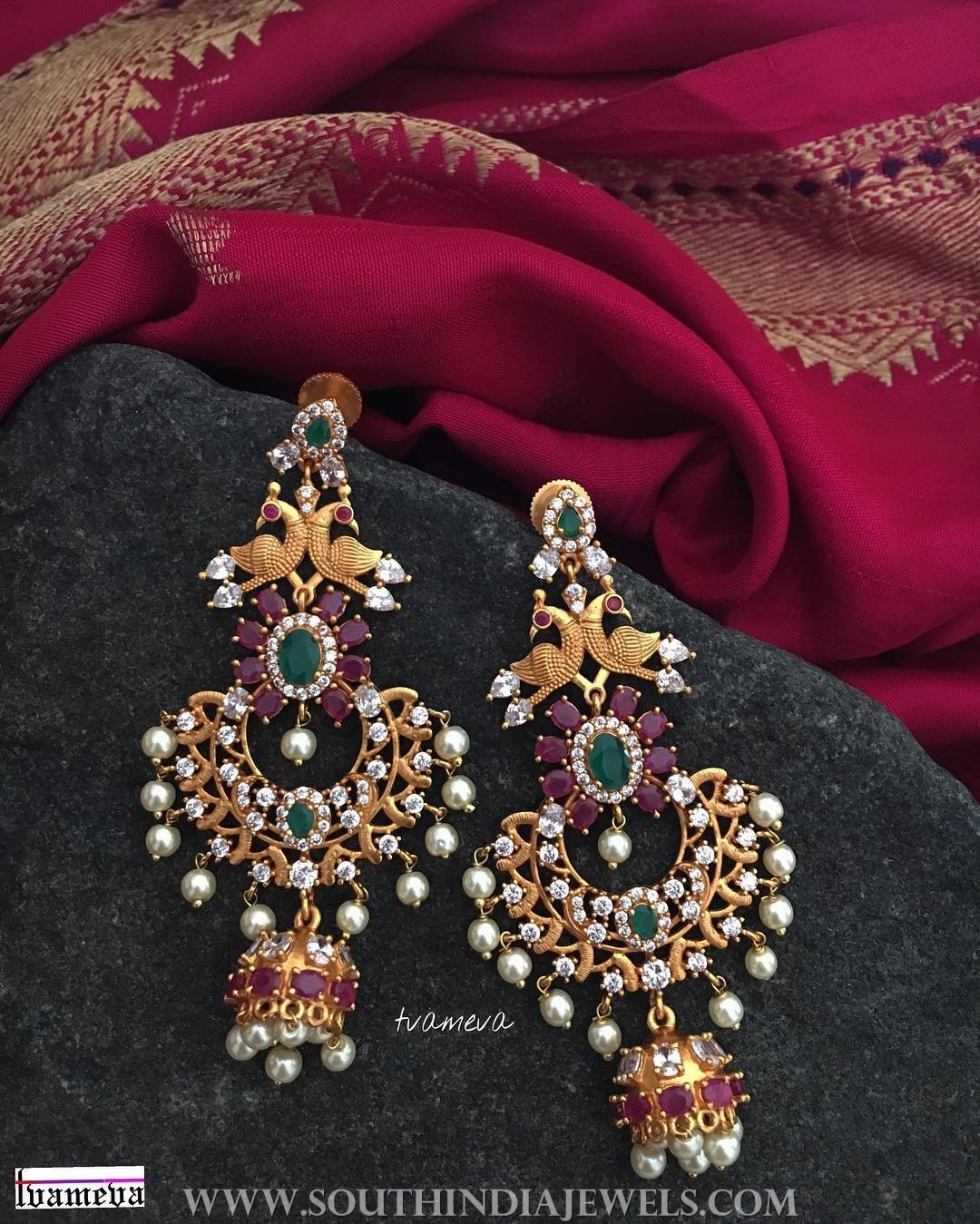 Gold Plated Designer Earrings From Tvmeva