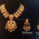 Gold Ruby Mango Necklace & Chandbali Earrings