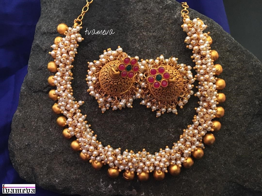 Gold Plated Pearl Necklace With Jhumka