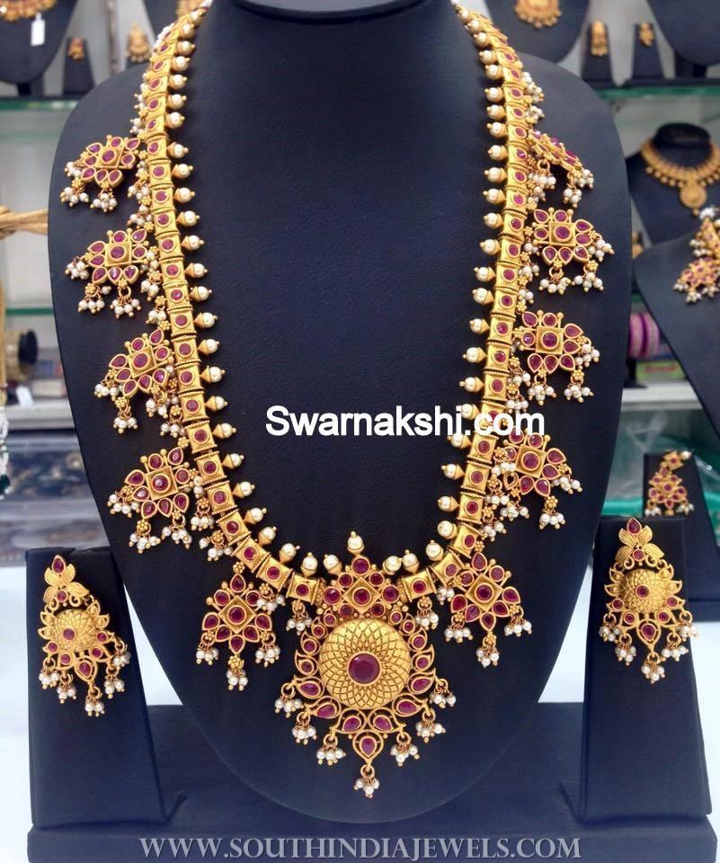 1 Gram Gold Ruby Guttapusalu Necklace
