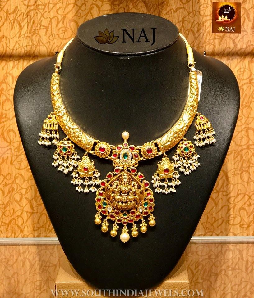 Gold Nakshi Work Lakshmi Necklace From Naj