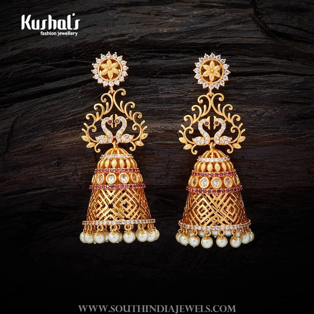 Gold Plated Jhumka From Kushal's Fashion Jewelry