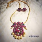 Gold Plated Ruby Necklace Set From Rajatamaya