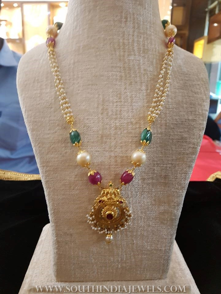 Pearl Chain Necklace From Bhavani Jewellers