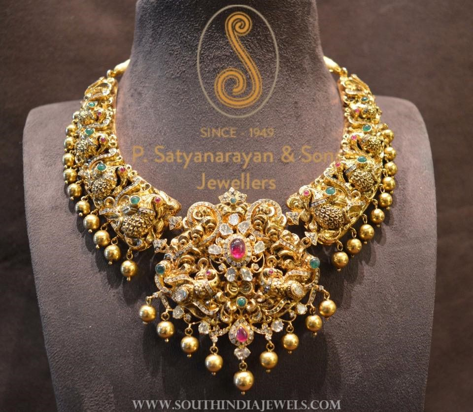 Gold Antique Traditional Peacock Necklace