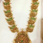 Gold Mango Haram With Green Kemp Stones