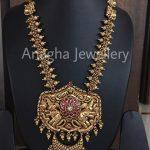 Gold Nakshi Kundan Haram Model