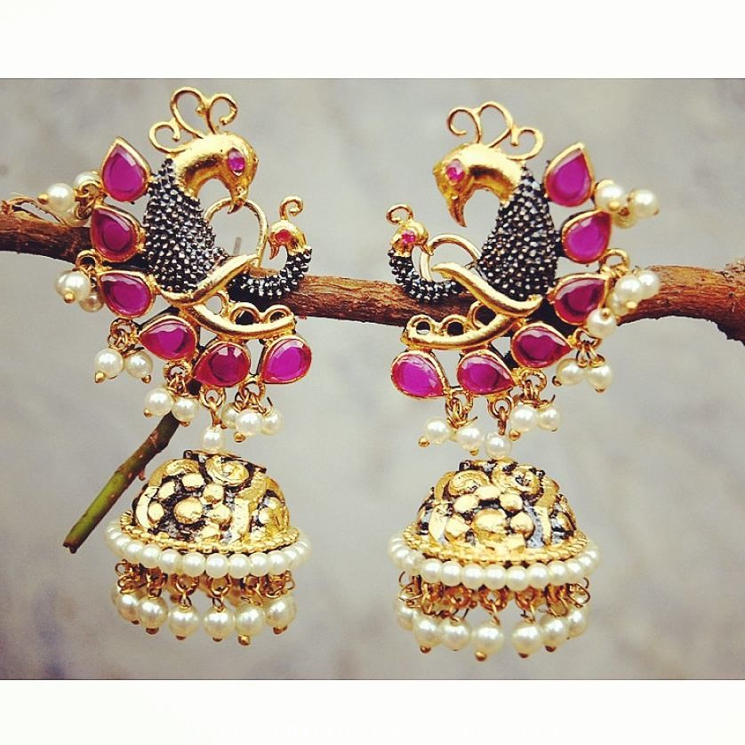 Imitation Peacock Jhumka From Orne Jewels