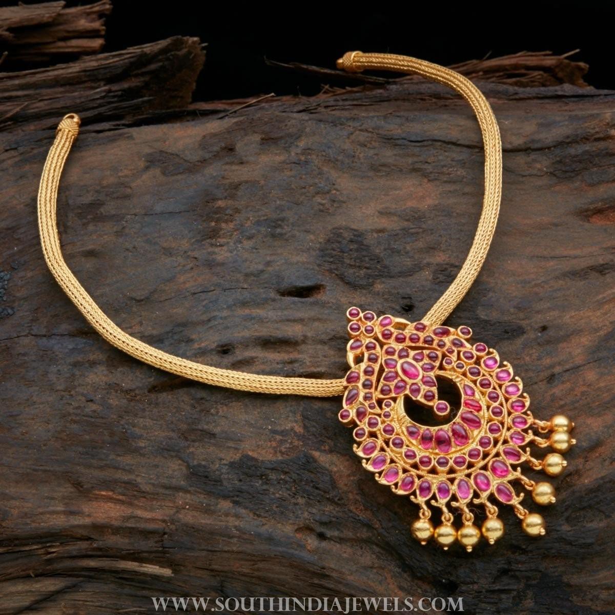 Gold Plated Pure Silver Attigai Necklace