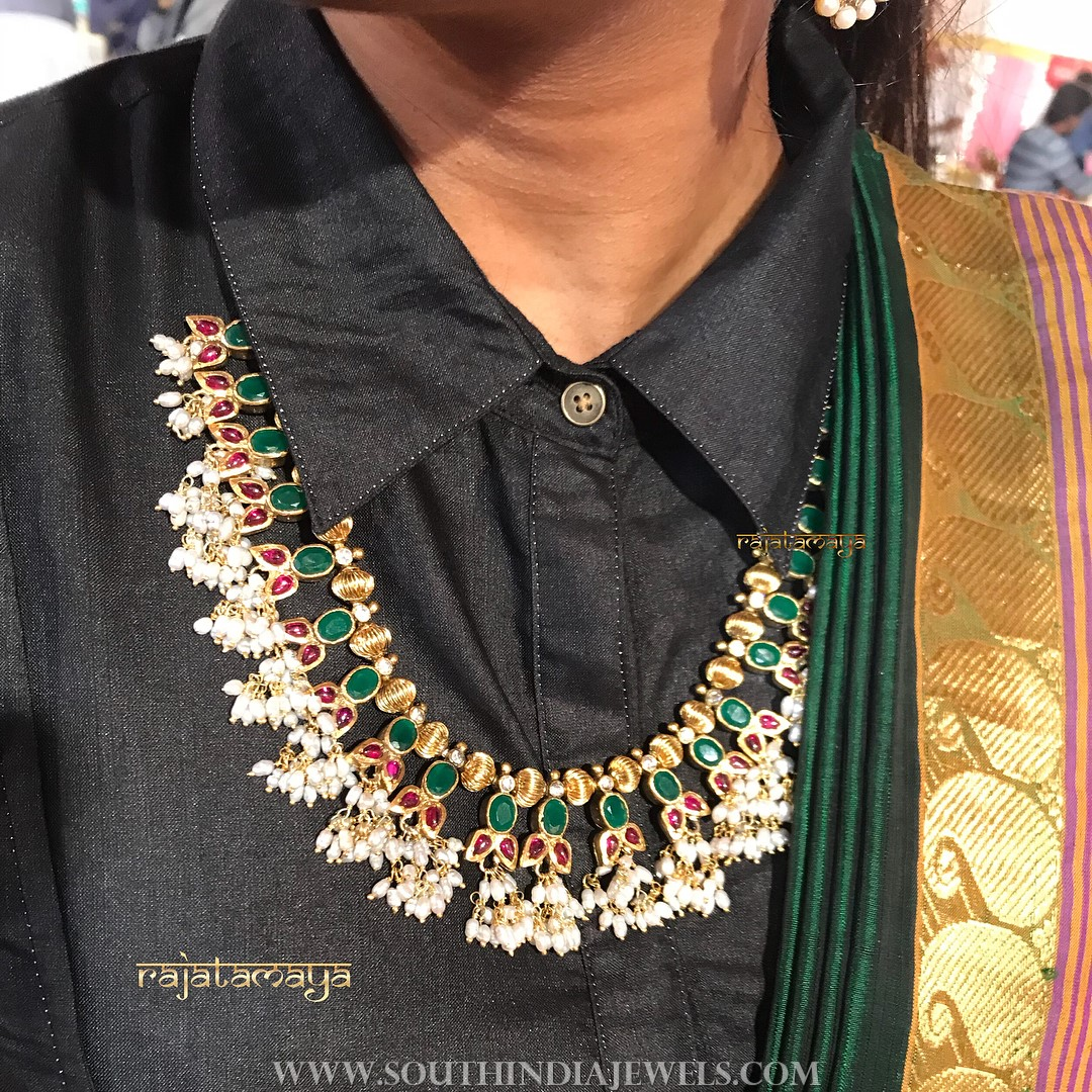 Gold Plated Emerald Guttapusalu From Rajatamaya