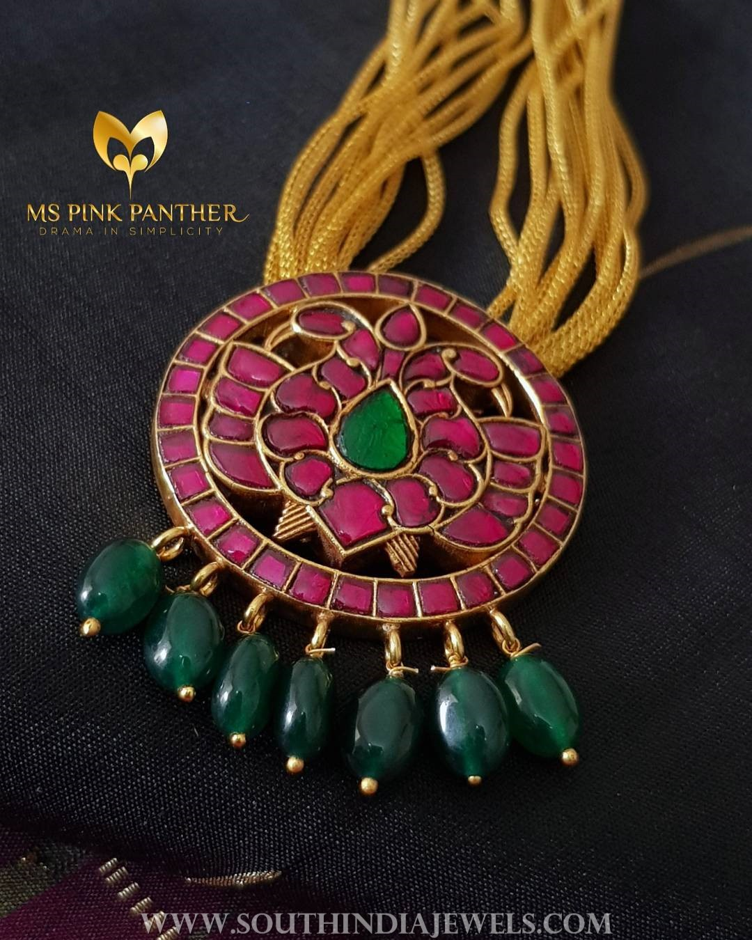 Gold Plated Necklace With Ruby Pendant