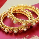 Gold Plated Pearl Floral Bangle