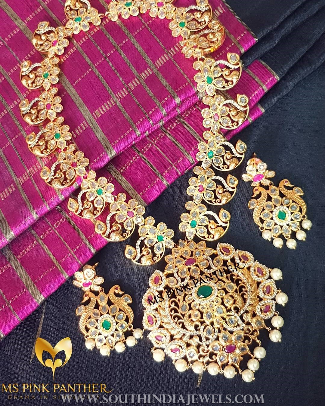 Gold Plated Peacock Necklace Set From Ms Pink Panthers