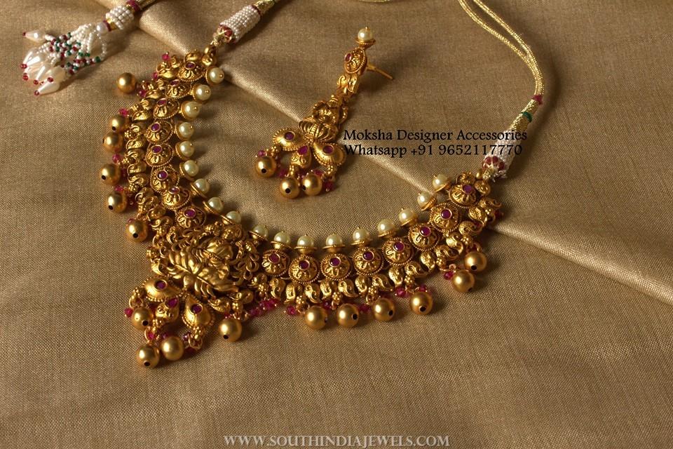 Latest Antique Lakshmi Choker & Earrings