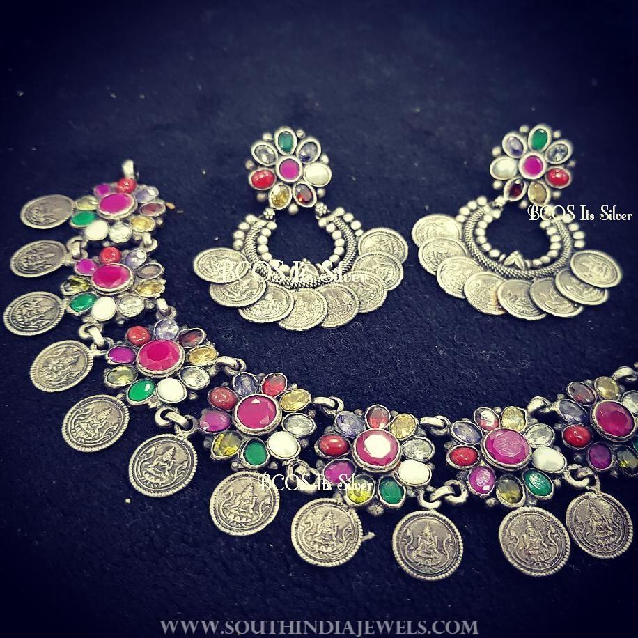 Silver Navarathna Choker Necklace Set