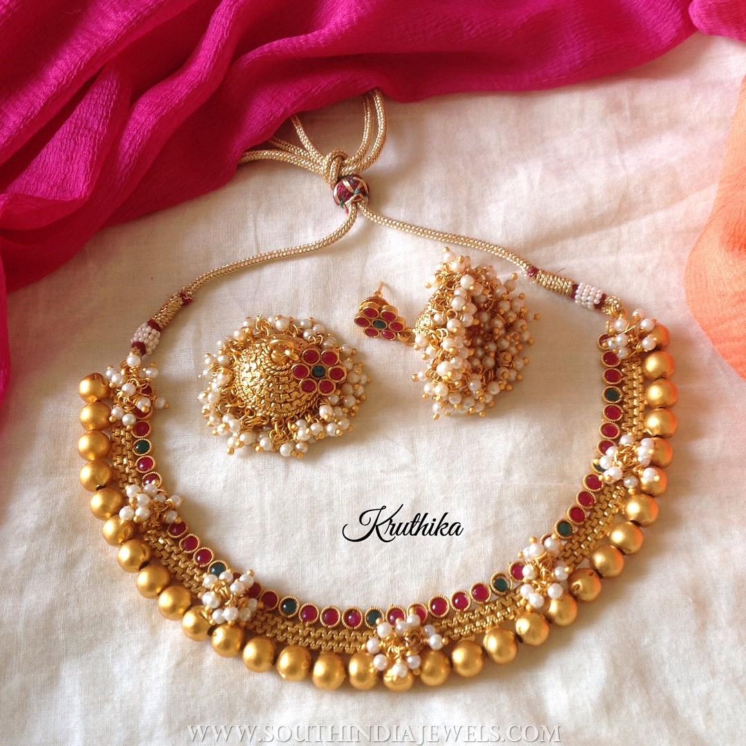Traditional Choker Set From Kruthika Jewellery