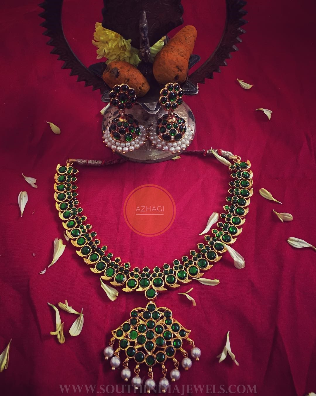 Green Kemp Necklace and Jhumka