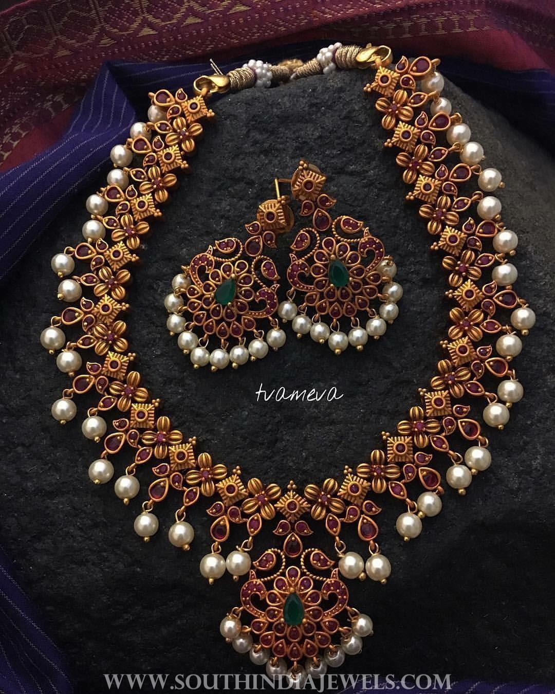 Matt Finish Ruby Emerald Necklace Set From Tvameva