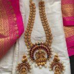 Matt Finish Medium Length Lakshmi Necklace Set
