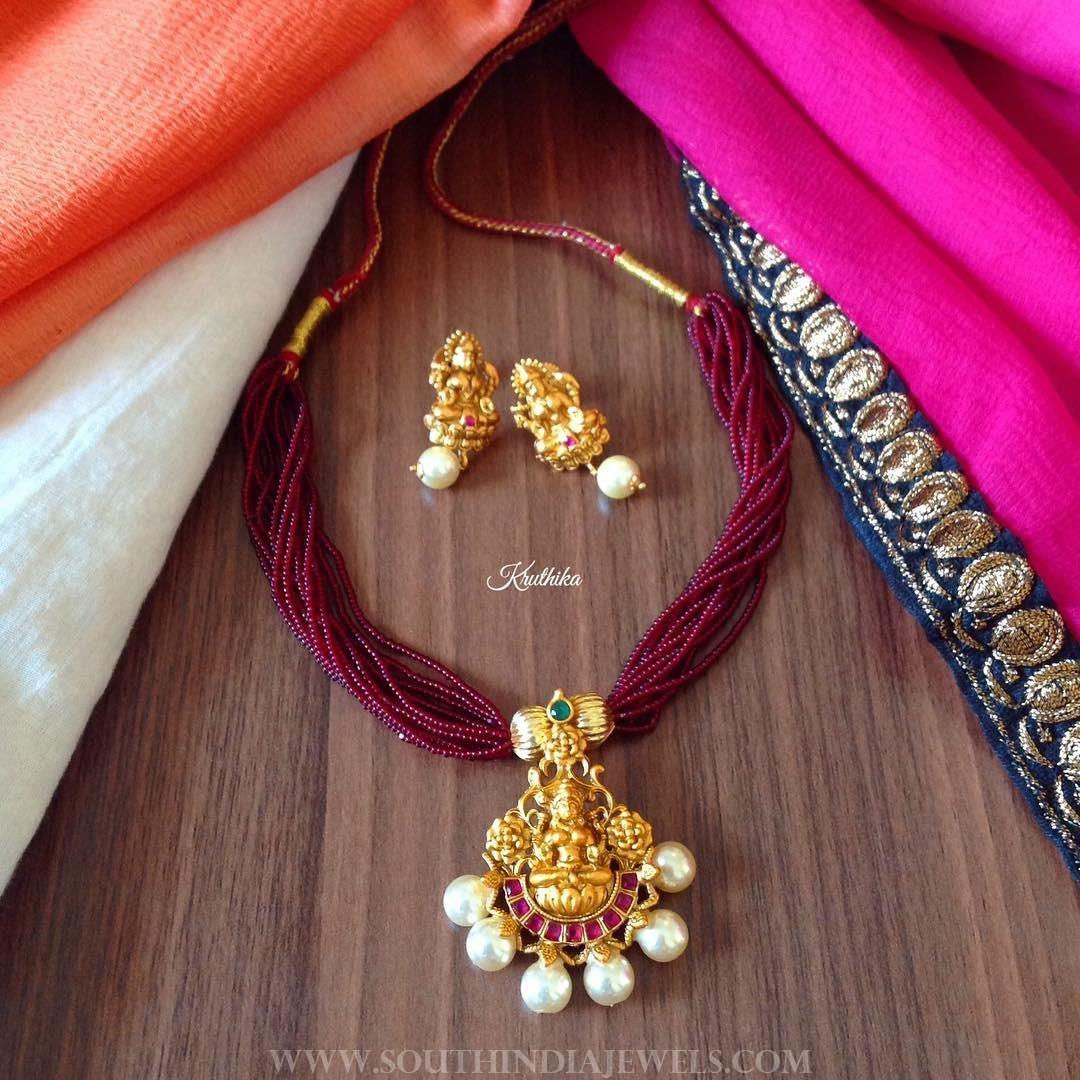 Short Lakshmi Necklace From Kruthika Jewellery