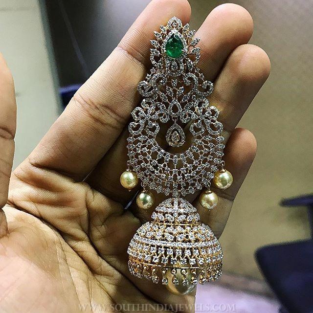 Bold Diamond Jhumka From  P.Satyanarayan & Sons Jewellers