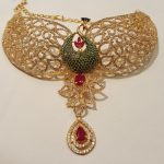 Gold CZ Stone Peacock Choker From Mahalaxmi Jewellers