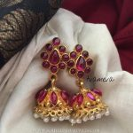 Gold Plated Ruby Jhumka From Tvameva