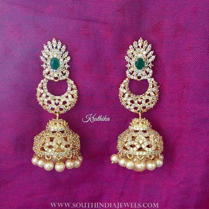 Gold plated stone jhumka kruthika jewellery