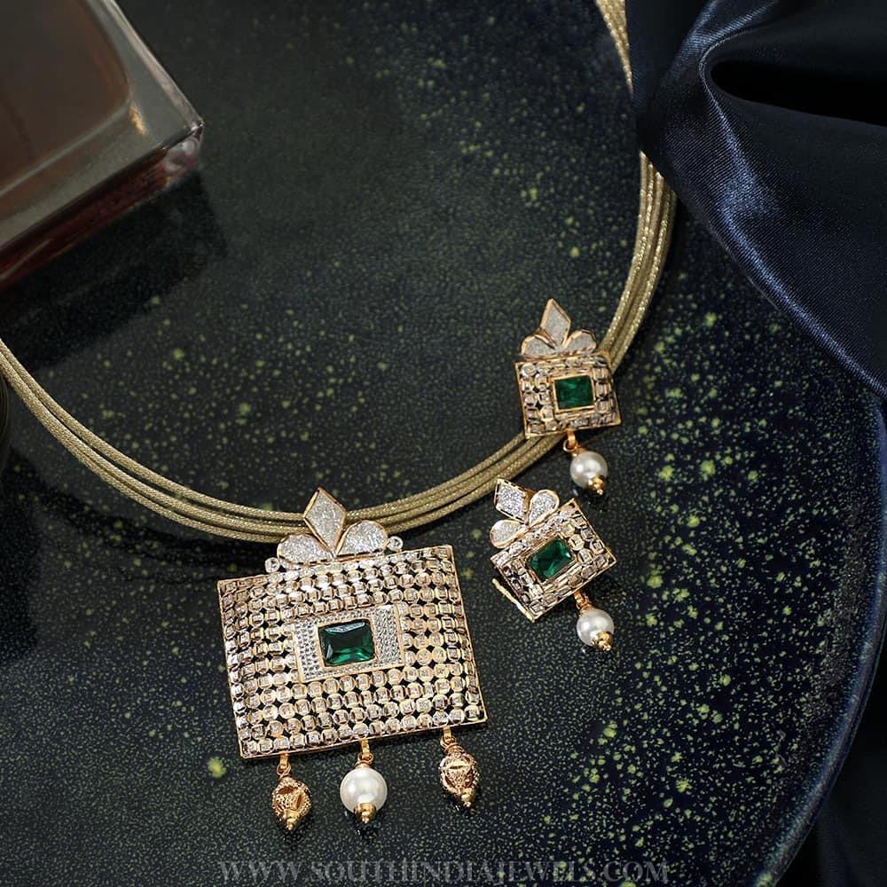 Designer Gold Rhodium Necklace From Manubhai Jewellers