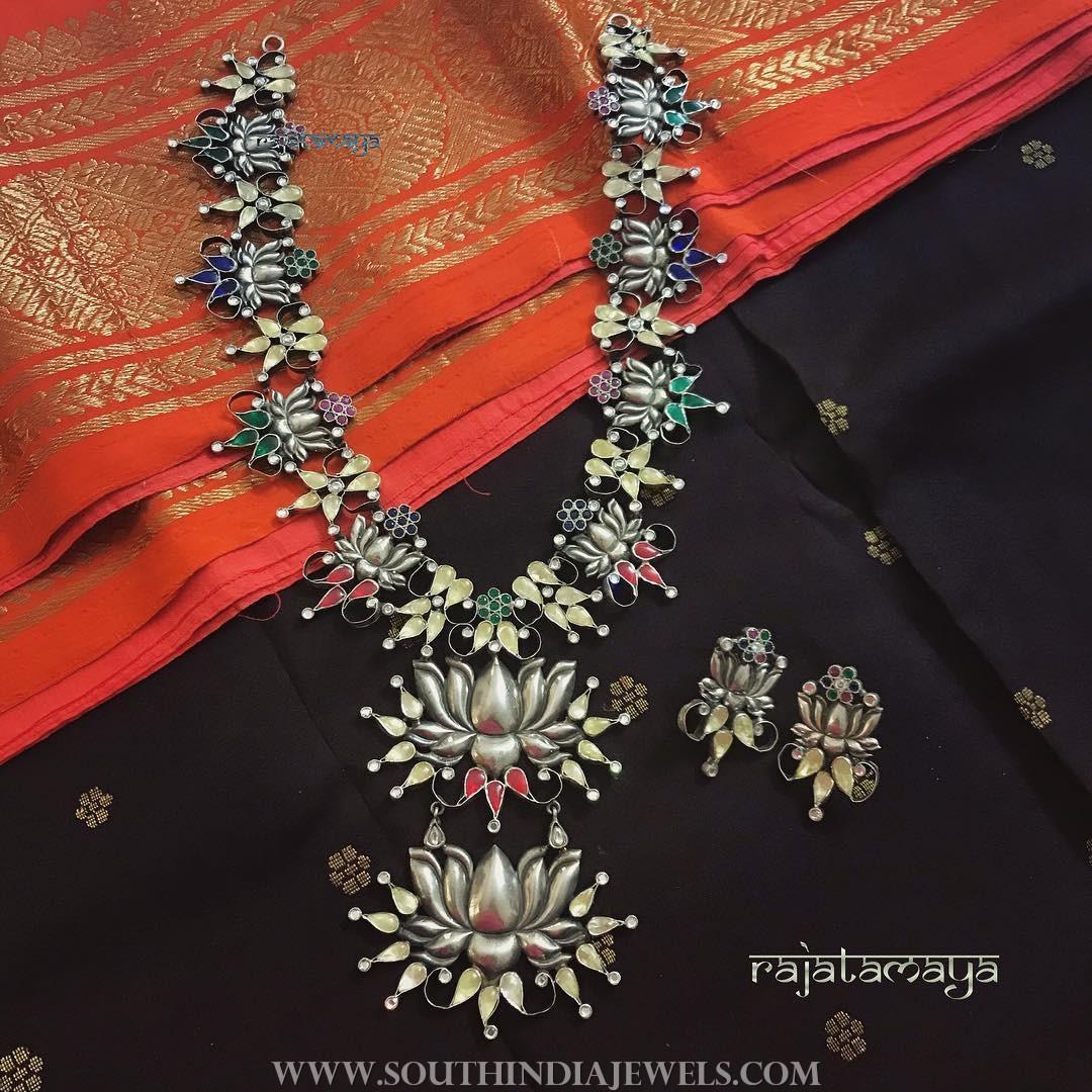 Pure silver floral necklace rajatamaya
