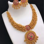 Imitation Antique Ruby Necklace Set From Kovai Collections