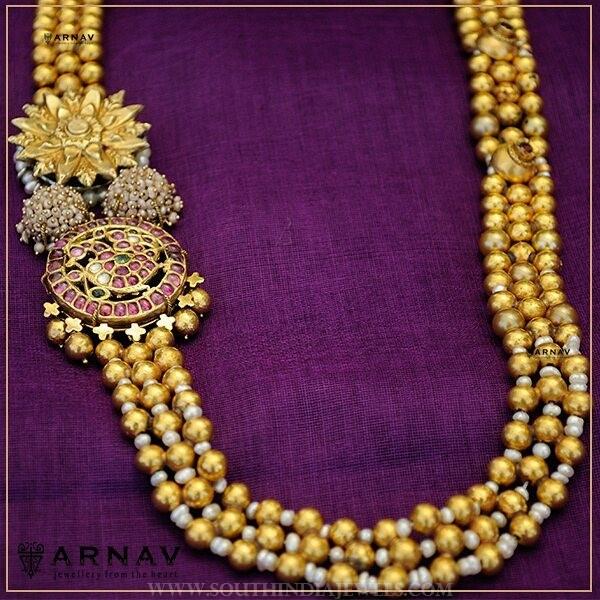 gold ball haram with side locket arnav