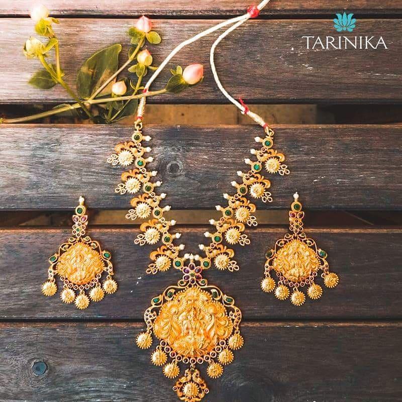 Antique gold plated long necklace set Tarinika