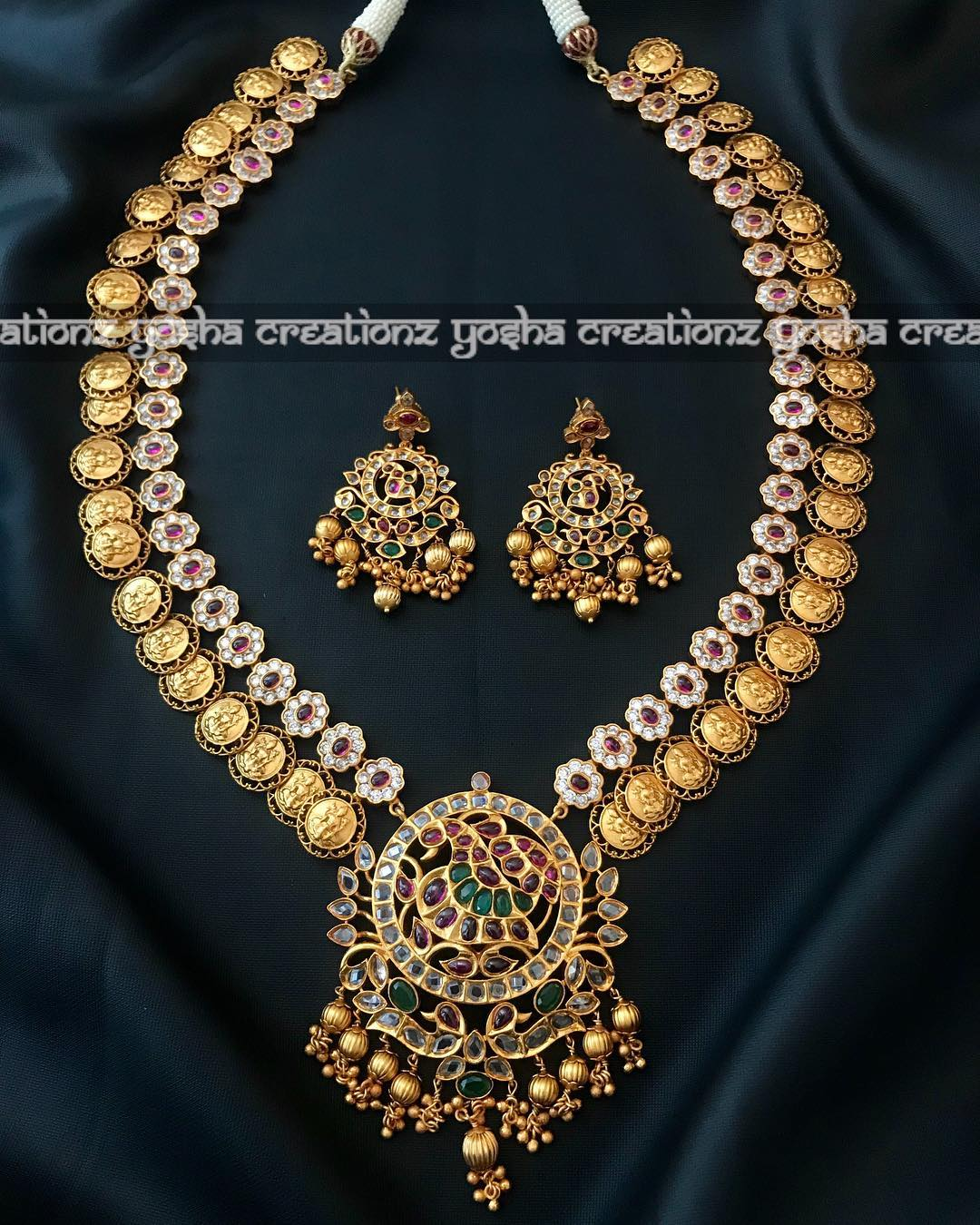 Antique- matte finish long lakshmi harm Yosha creations