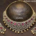Gold Plated Solitaire Necklace Set From Kruthika Jewellery