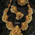 Matt Finish Ganesh Necklace Set From Kruthika Jewellery