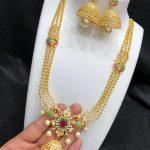 Matt Finish Long Necklace Set Kovai Collections