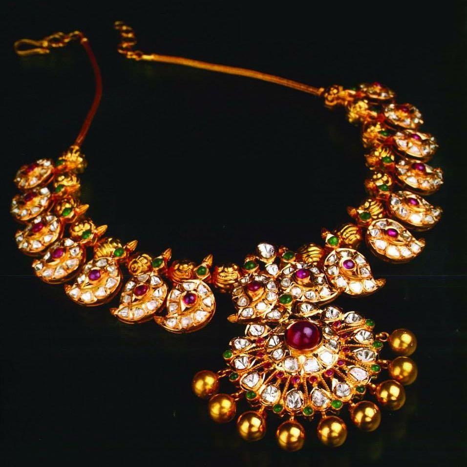 Short mango necklace set manjula jewellery