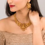 Gold Plated Matt Finish Temple Necklace From Tarinika
