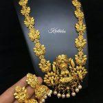 Gold Finish Lakshmi Haram From Kruthika Jewellery